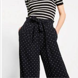 Zara black polka dot paper bag tie waist trousers